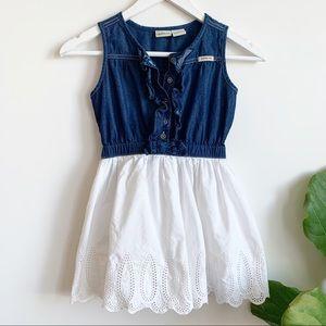 Calvin Klein Jeans Blue White Cotton Dress 7